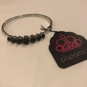 Silver bracelet black stones